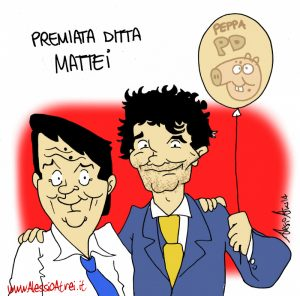 Matteo Biffoni e Matteo Renzi Prato PD caricature vignette