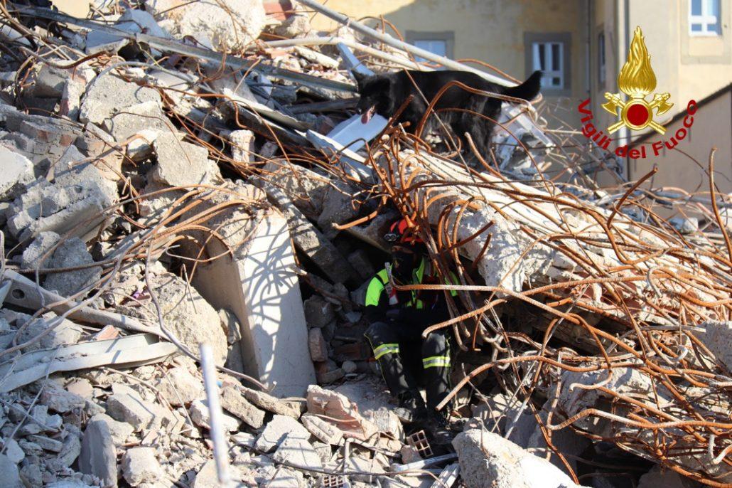 esercitazione unità cinofili vigili del fuoco a cantiere demolizione vecchio ospedale (11)